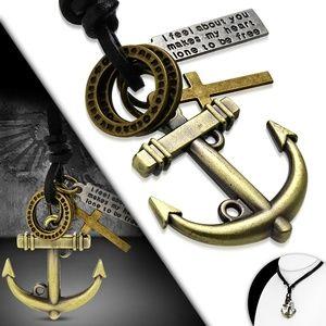 Fashion Marine Anchor Cross Tag Ring Charm